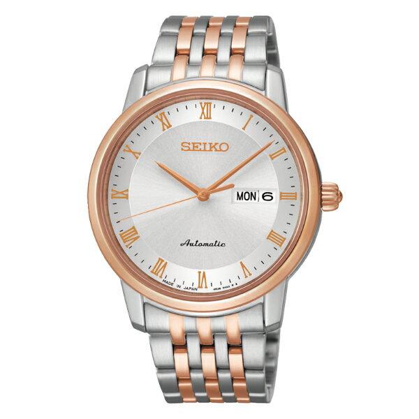 Seiko Presage 4R36-04E0KS(SRP696J1)雙色經典羅馬雙日曆機械腕錶/白面40mm
