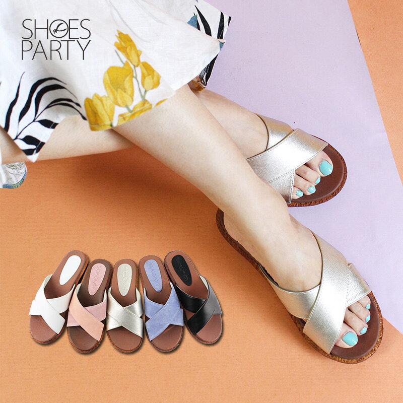 【S2-18708L】Simple+雙帶交叉漢堡底拖鞋_Shoes Party 0