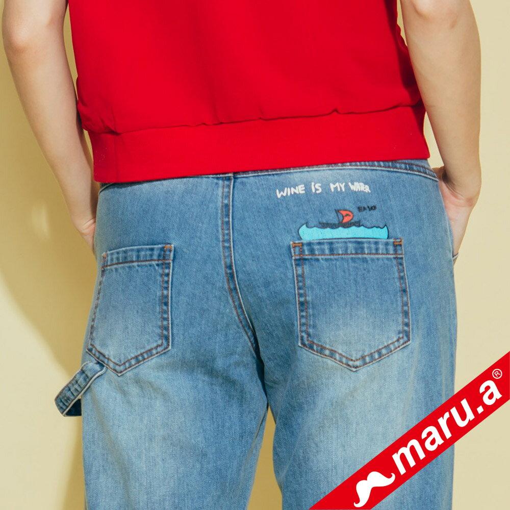 【maru.a】刷破鬍子車線裝飾後口袋小船印花牛仔長褲(2色)8325215 2