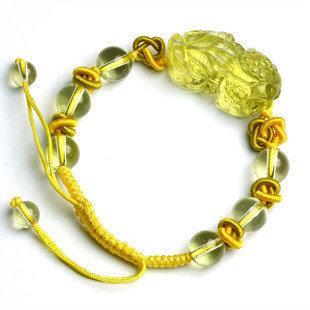 極品!黃水晶貔貅手鏈水晶手鏈 女款