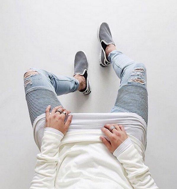 【JP.美日韓】無品牌 歐美水洗做舊大破壞KANYE WEST側拉鍊修身牛仔褲膝蓋貓須破洞 大尺碼 機車褲 機車 牛仔