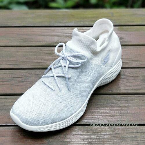 SKECHERS(女)健走系列YOU健走鞋運動鞋懶人鞋襪套式-14966WHT灰白[陽光樂活]