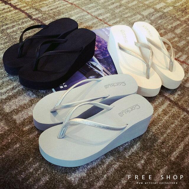 Free Shop 厚底拖鞋高跟中跟楔型 沙灘高底涼鞋單鞋防滑沙灘拖人字拖涼拖鞋鬆糕鞋~Q