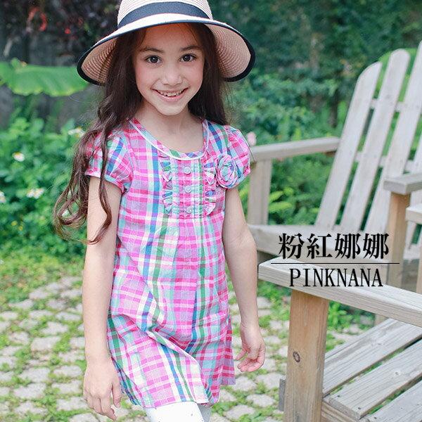 PINKNANA童裝女童格紋純棉襯衫洋裝29195