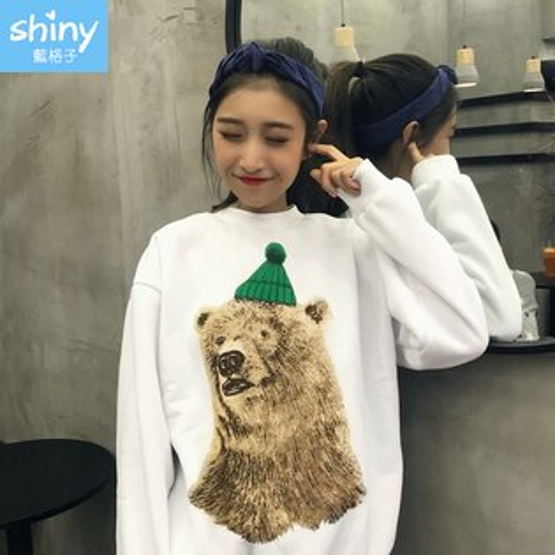 全館滿700折70【V2240】shiny藍格子-暖和冬氛.熊熊印花圓領長袖刷毛上衣