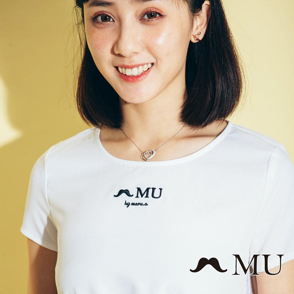 【MU】素面簡約LOGO條紋側拼接上衣(2色)7323168 3
