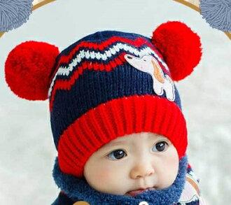 Lemonkid◆可愛狗狗閃電彩色條紋耳朵雙毛球造型兒童保暖毛線帽-藏青