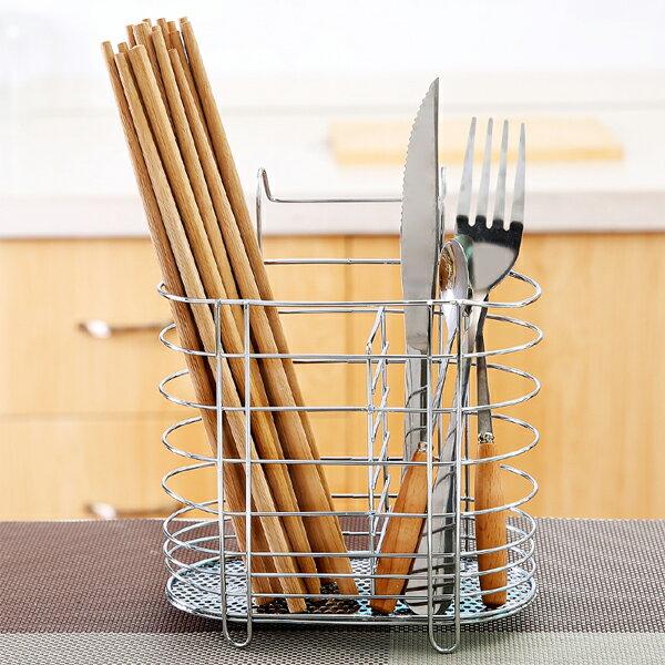 BO雜貨【SV6412】創意 不銹鋼筷子筒 瀝水雙筒筷架 不銹鋼餐具籠 餐具筒 帶掛鉤瀝水架 廚房置物架
