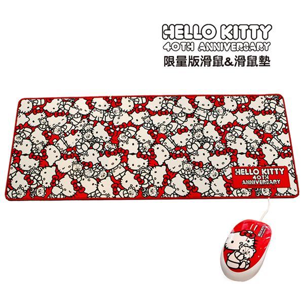 Hello Kitty  40周年限定包 有線滑鼠含大鼠墊可當桌墊使用 ◆1000 DPI 高精準解析度滑鼠 ◆使用超流暢 ◆USB介面隨插即用