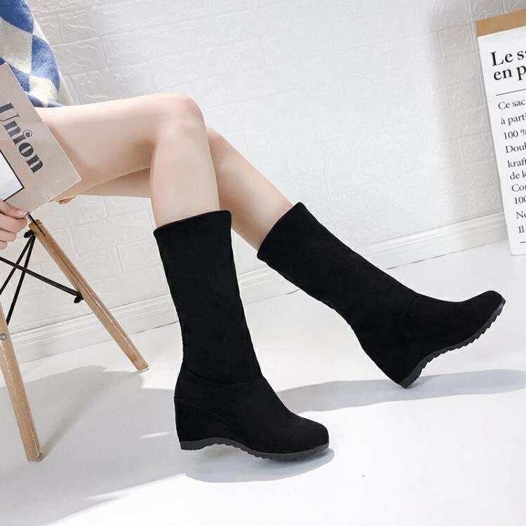中筒靴 內增高女鞋子中筒靴子女2021年新款短靴女士秋冬季中長靴半靴百搭 娜娜小屋
