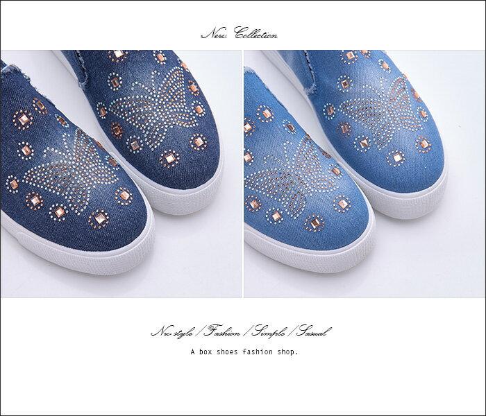格子舖*【AS505】水鑽蝴蝶刷色牛仔布破壞 V口鬆緊厚底增高3.5cm帆布鞋 懶人鞋 2色 1