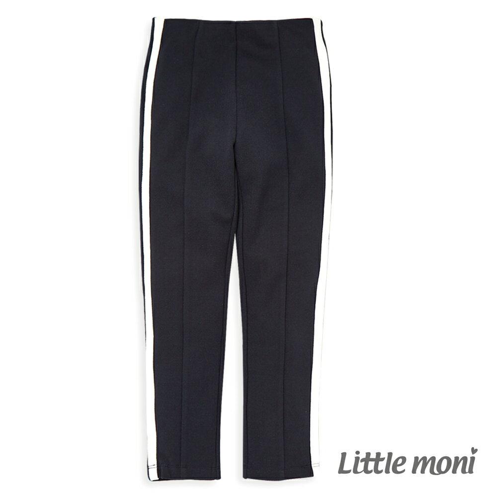 Little moni 側邊壓條彈性合身褲-深藍(好窩生活節) - 限時優惠好康折扣