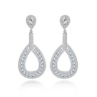 純銀耳環鍍白金鑲鑽耳飾~ 高貴奢華簡約生日情人節 女飾品73cr426~ ~~米蘭 ~