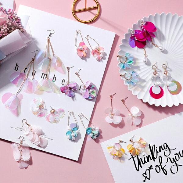 PS Mall 韓版清新彩色亮片耳環甜美百搭花朵長款流蘇耳墜【G093】 0