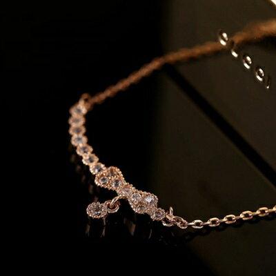 ~玫瑰金項鍊 鑲鑽純銀吊墜~ 精緻蝴蝶結優雅情人節生日 女飾品73dw42~ ~~米蘭 ~