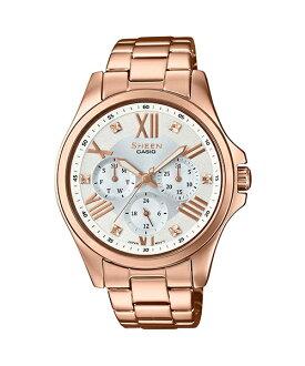 CASIO SHEEN SHE-3806PG-7A 三眼三圈日期星期時尚腕錶/白*玫瑰金色39mm