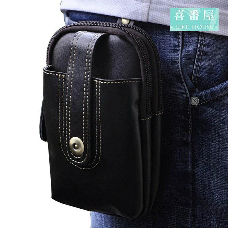 【喜番屋】日韓版真皮復古雙拉鍊多隔層可裝5.5吋腰掛手機包零錢包小包腰包男包LB120