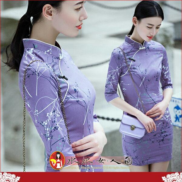 【水水女人國】~優雅中國風~陽光普照~意寄梅花。復古抽象梅花印花時尚改良式七分袖短旗袍