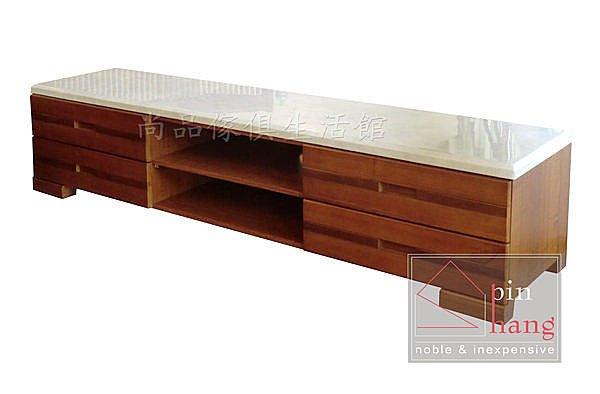 ~尚品傢俱~790~05 奧丁 7尺樟木色半實木石面四抽電視櫃 TV櫃 客廳長櫃 收納櫃