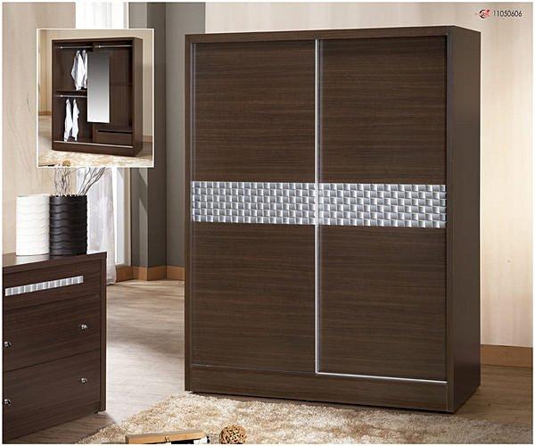 【尚品傢俱】791-05 洛德 胡桃5*7尺推門衣櫃收納櫃