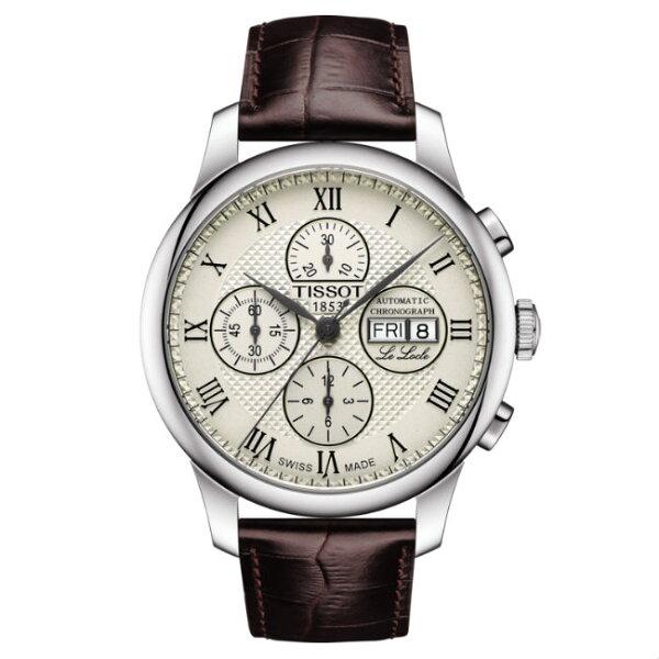 TISSOT天梭T0064141626300LELOCLE三眼復古簡約時尚腕錶-皮帶款42.3mm