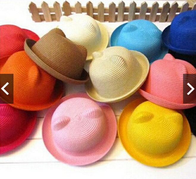 百搭可愛熊耳朵兒童草帽男女寶寶草編遮陽帽1~4歲