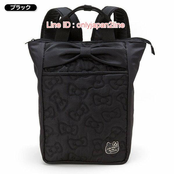 【真愛日本】17021000043  輕量兩用後背包-電繡蝴蝶結黑AAA  三麗鷗Hello Kitty凱蒂貓 後背包 背包 書包
