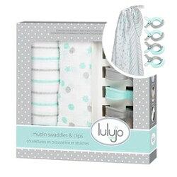 【紫貝殼】加拿大 lulujo 雙入包巾禮盒組-水綠【100%純棉,新生兒彌月禮最佳首選】