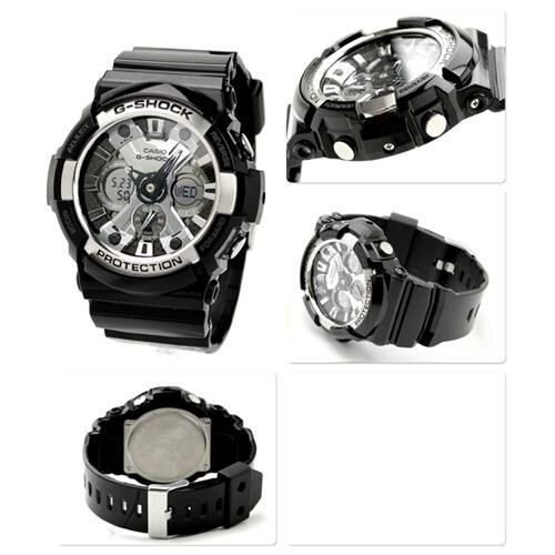 Casio Mens G-Shock X-Large Ana-Digi Resin Watch - Black Resin Band - Silver Dial - GA200BW-1A 2