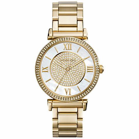 美國Outlet正品代購 MichaelKors MK 復古羅馬滿天星貝殼面鑲鑽金色    手錶 腕錶 MK3332 0