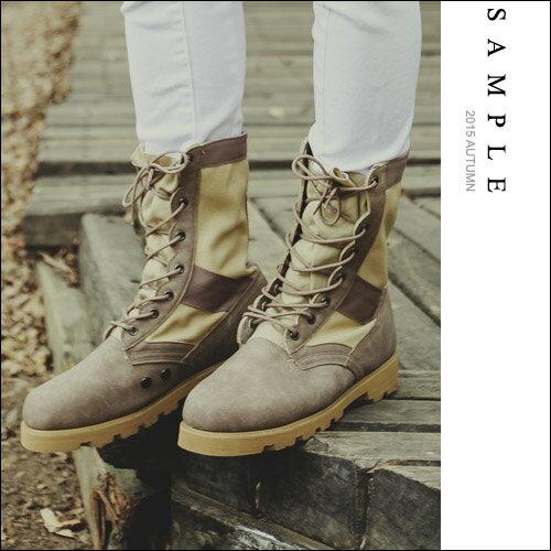 韓國製 高筒靴~SA14324~帆布拼接麂皮 帥氣軍靴~S le~~共3色