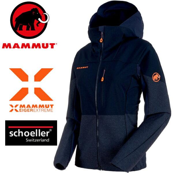 Mammut長毛象軟殼外套登山夾克極限系列EisfeldLightSO女款1011-000305924夜藍