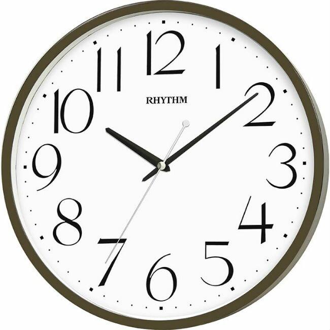 大高雄鐘錶城 RHYTHM 麗聲鐘(CMG133) 墨綠圓形木紋時尚掛鐘/ 31.8cm