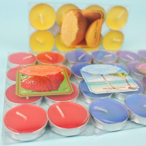 8入彩色香味圓型蠟燭 泡花茶蠟燭 彩色蠟燭【一包12盒入】(一盒8個)共96個入{定40}秉B10094
