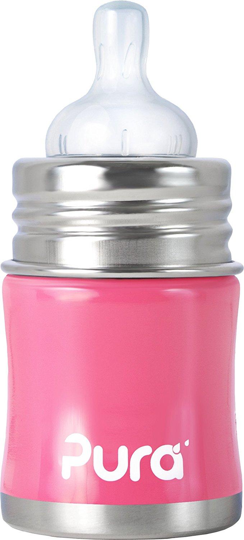 【淘氣寶寶】美國 Pura Stainless Kiki 不鏽鋼奶瓶(寬口徑/粉) 5oz =150ml 不含雙酚A 【保證原廠公司貨】