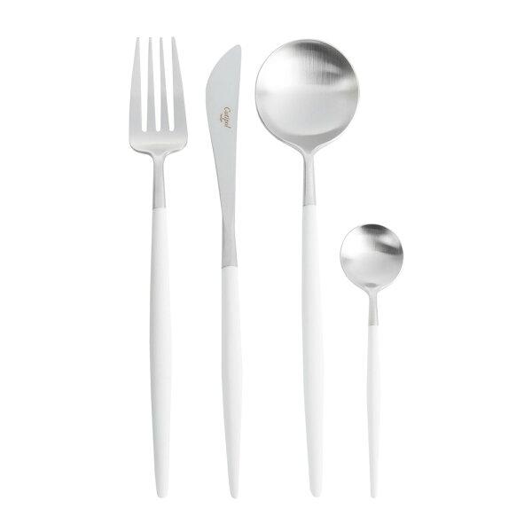 葡萄牙CutipolGOA系列個人餐具4件組-主餐刀+叉+匙+咖啡匙(白銀)