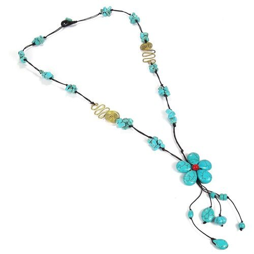 Long Drop Turquoise Flower-Brass Deco Wax Rope Necklace 1