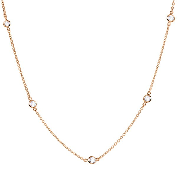 "36"" Rose Gold Plated Cubic Zirconia CZ by the Yard Necklace (16.5 Carat Total) 1"