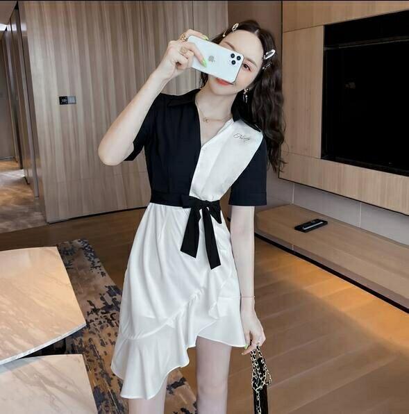 洋裝 拼接裙 V領 S-2XL新款法式拼接荷葉邊裙設計感收腰顯瘦連身裙T235-5066. 果果輕時尚