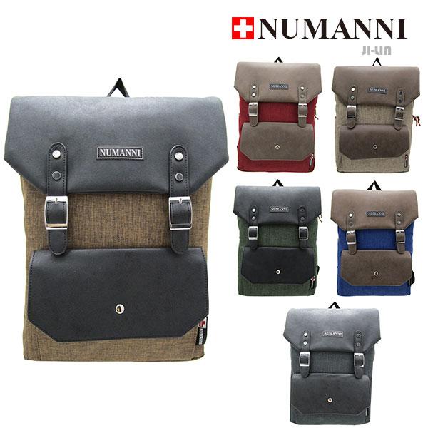 82-6006【NUMANNI 奴曼尼】麻布料雙扣後背包 (六色)