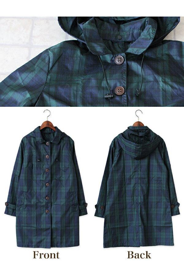 雨衣 格紋鈕釦防水雨衣 / 風衣外套【EL1009】 BOBI  04 / 07 5
