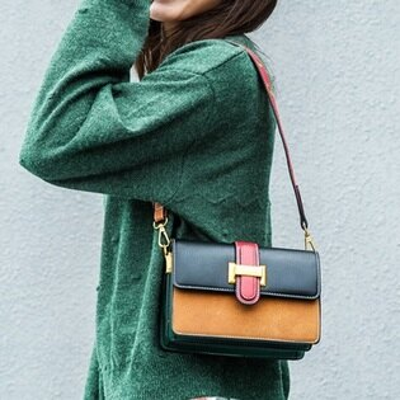 肩背包撞色側背包-韓版時尚小方包風琴格女包包3色73sb35【獨家進口】【米蘭精品】