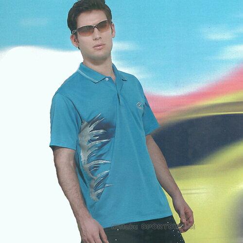 日本名牌Nittaku男女吸濕排汗(印刷圖騰)短POLO衫-海藍(#3622) - 限時優惠好康折扣