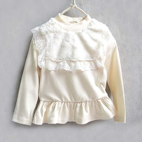 【班比納精品童裝】彈力毛茸珍珠蕾絲波浪洋裝-白【BO150714050】