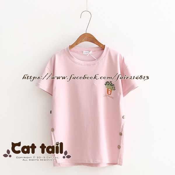 《貓尾巴》TS-0630學院風花瓶刺繡短袖上衣(森林系日系棉麻文青清新)