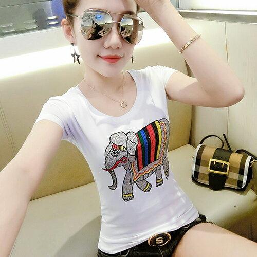 *ORead*鑲鑽短袖T恤(白色S~3XL)