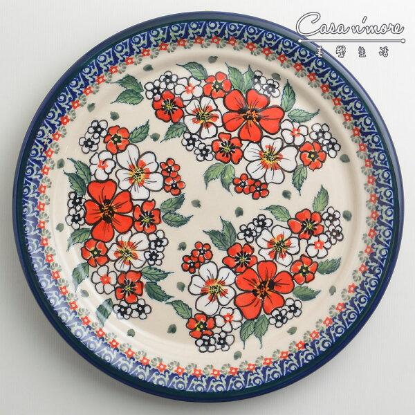 波蘭陶紅白彩卉系列圓形餐盤陶瓷盤菜盤點心盤圓盤沙拉盤25cm波蘭手工製