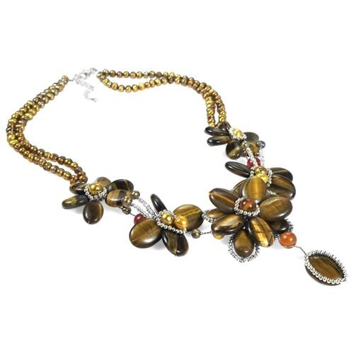 Brown Tiger Flower w Silver Beads .925 Silver Necklace 1