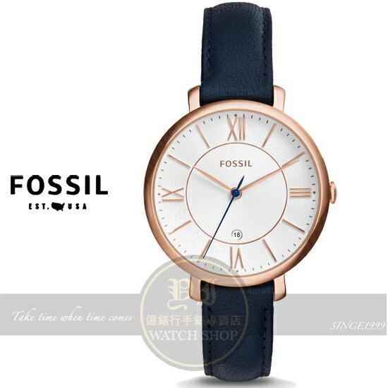 FOSSIL美國品牌Jacqueline經典復古羅馬品味淑女腕錶-玫瑰金x深藍/36mm ES3843公司貨/禮物