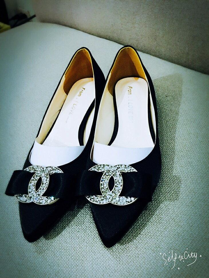 [Flower Korea]氣質香奈兒風尖頭緞面鞋